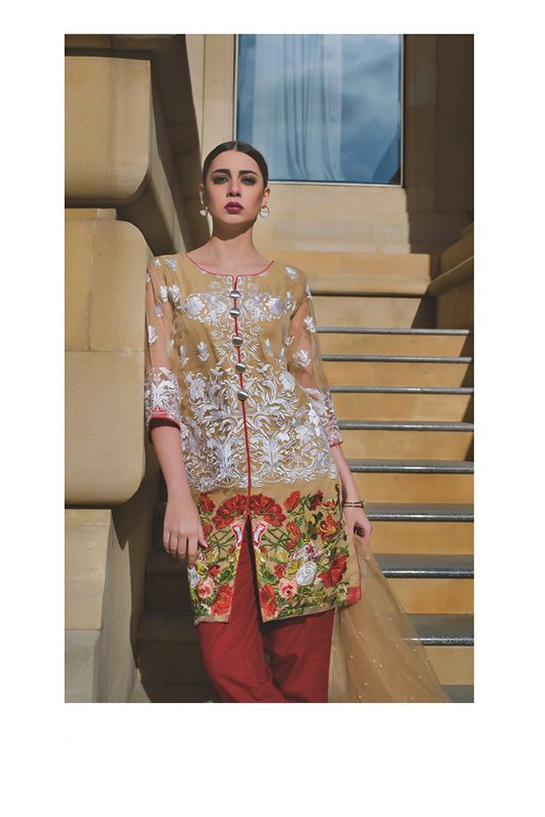 Areeba Saleem Embroidered Organza Unstitched 2 Piece Suit AS17C 08