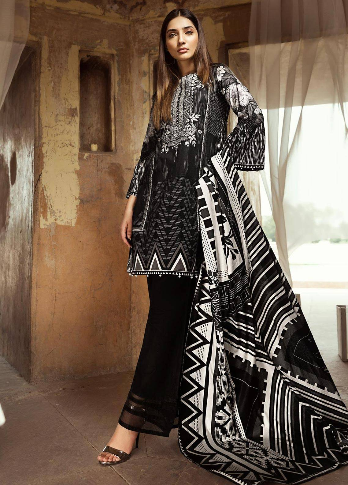 Edenrobe Embroidered Cambric Unstitched 2 Piece Suit 019383 - Black & White Collection