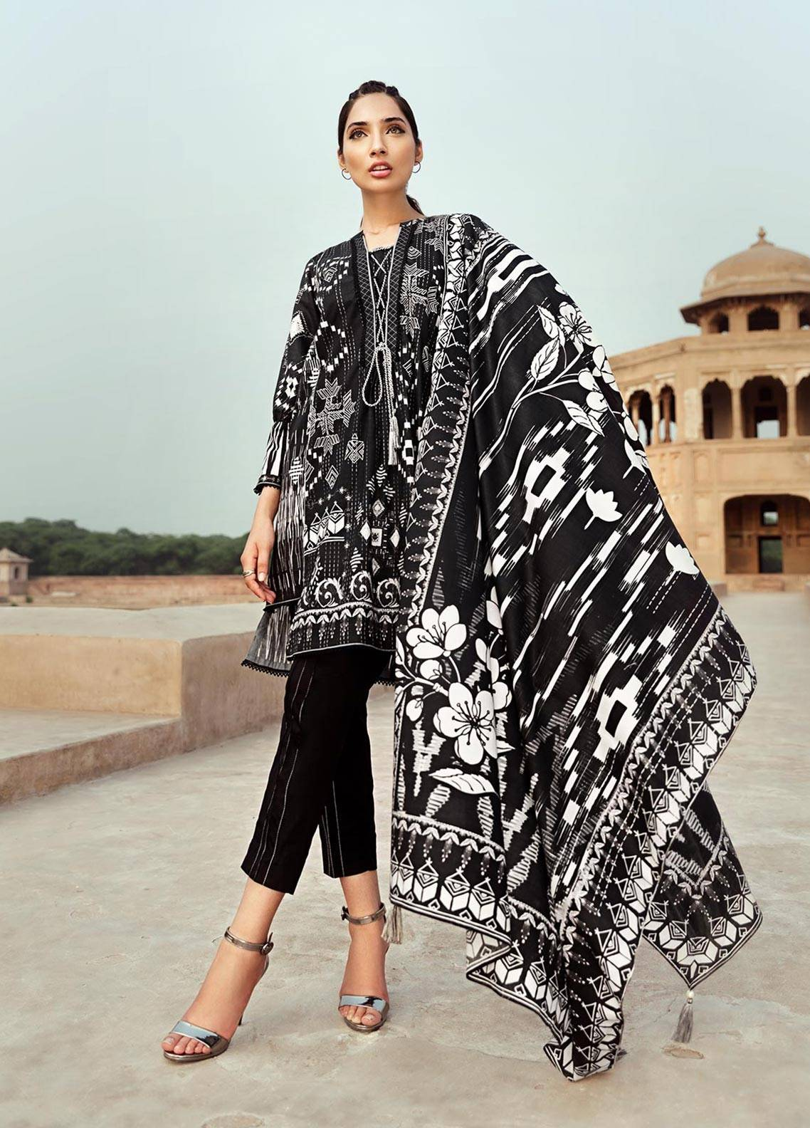 Edenrobe Printed Cambric Unstitched 2 Piece Suit 019385 - Black & White Collection