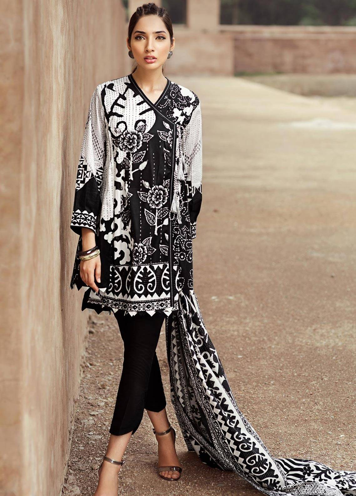 Edenrobe Printed Cambric Unstitched 2 Piece Suit 019386 - Black & White Collection