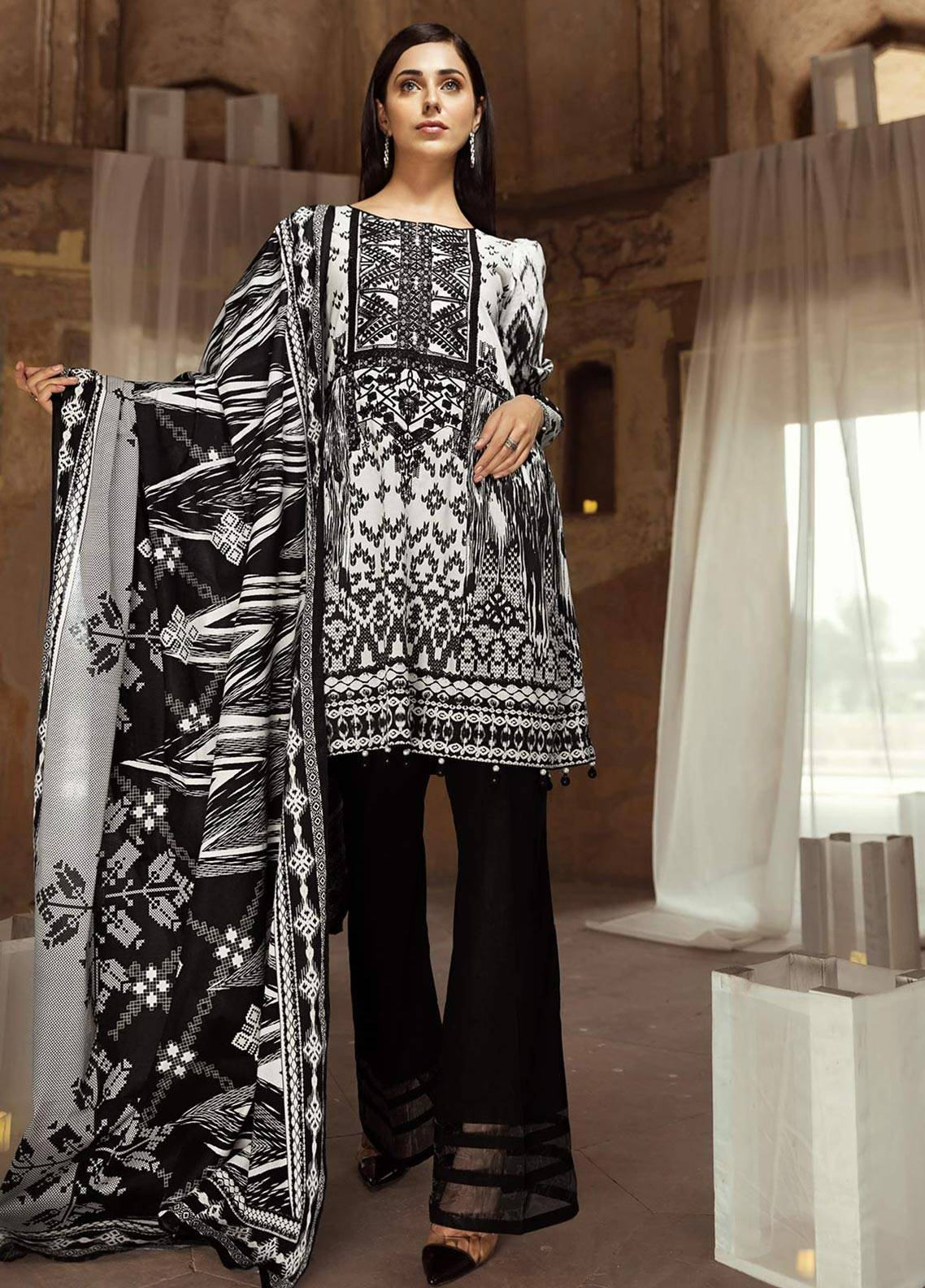 Edenrobe Embroidered Cambric Unstitched 2 Piece Suit 019404 - Black & White Collection