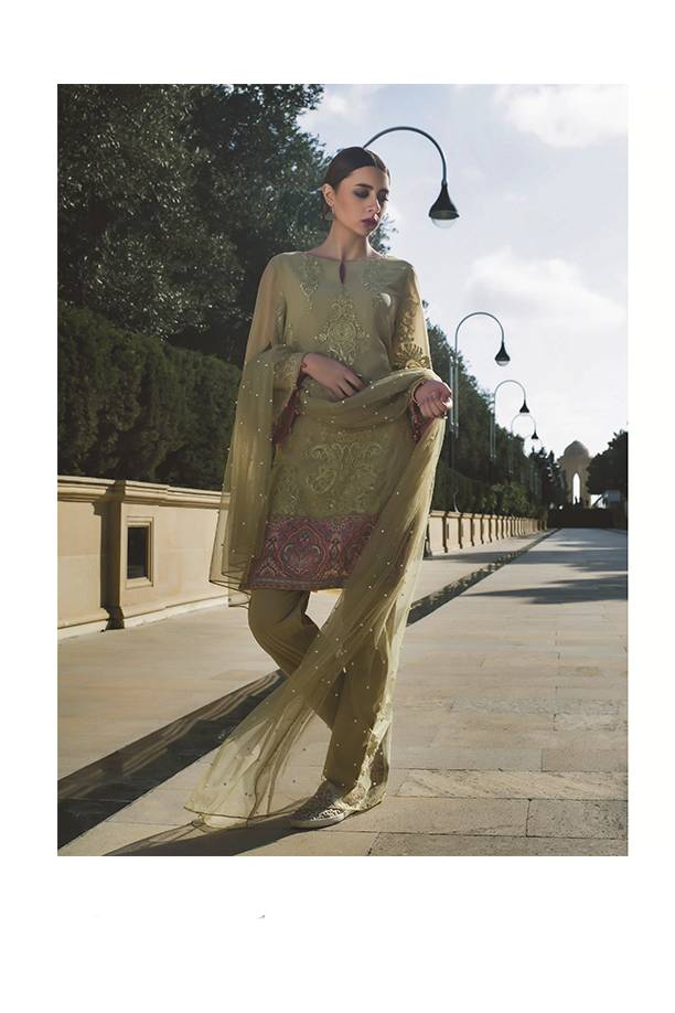 Areeba Saleem Embroidered Chiffon Unstitched 2 Piece Suit AS17C 10
