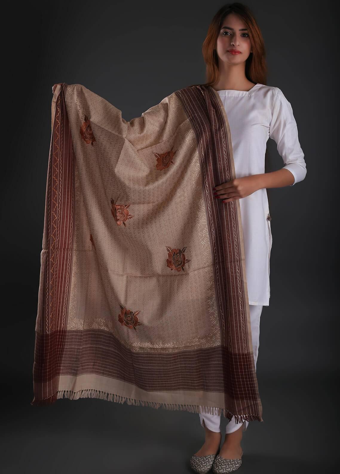 Sanaulla Exclusive Range Embroidered Pashmina  Shawl 121 - Kashmiri Shawls