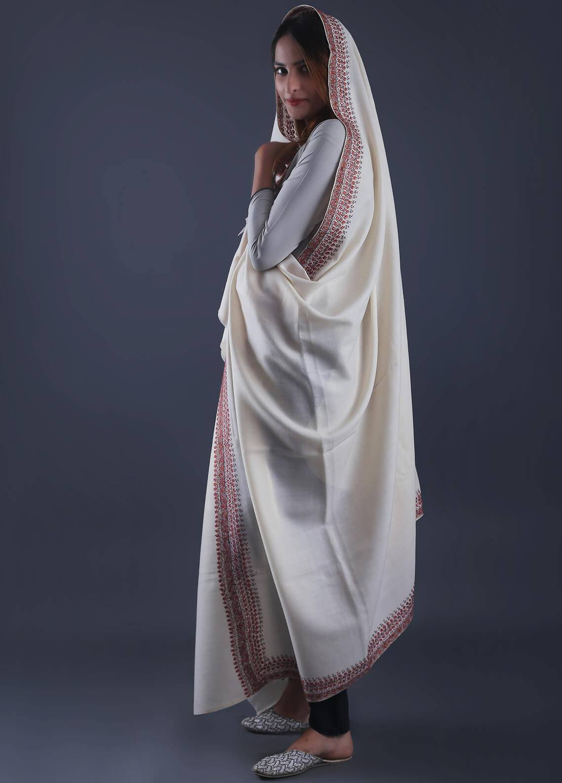Sanaulla Exclusive Range Textured Pashmina  Shawl 34 - Formal Collection