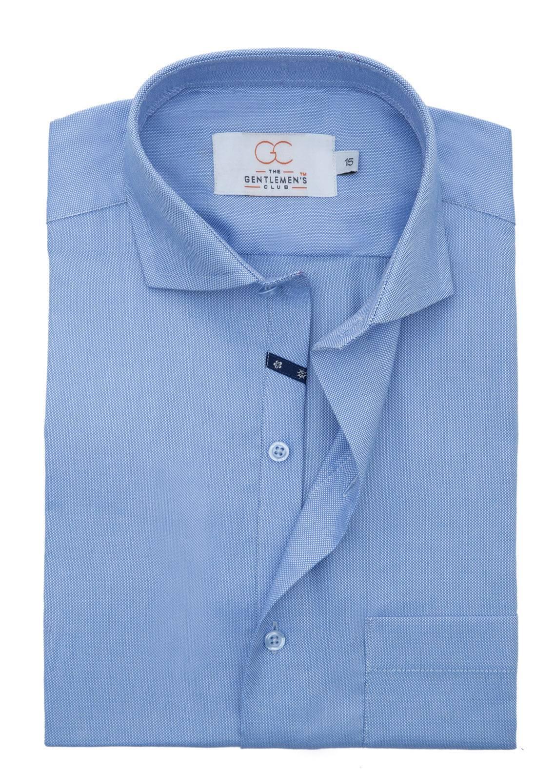 The Gentlemen's Club Cotton Formal Shirts for Men - Blue White Label 4066 - 18