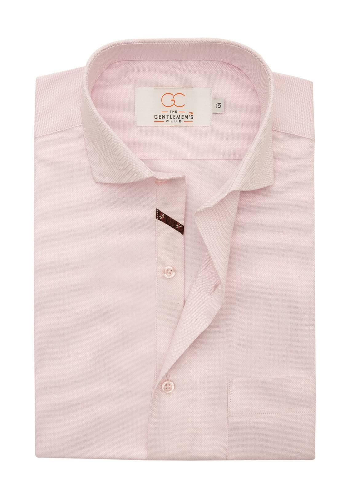 The Gentlemen's Club Cotton Formal Men Shirts - Pink White Label 4069 - 14.5