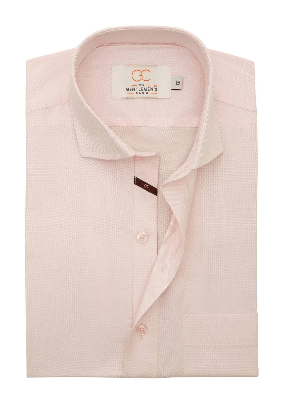 The Gentlemen's Club Cotton Formal Men Shirts - Pink White Label 4071 - 18.5