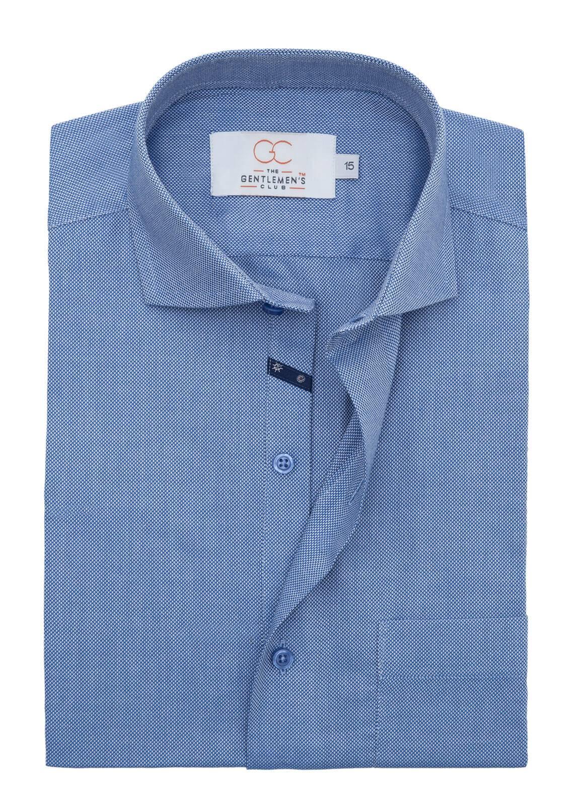 The Gentlemen's Club Cotton Formal Men Shirts - Blue White Label 4073 - 17.5