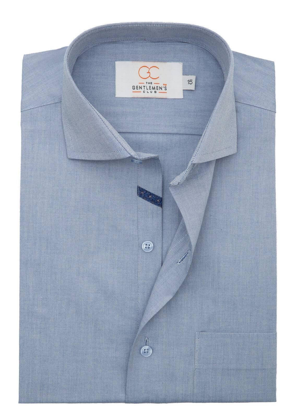 The Gentlemen's Club Cotton Formal Men Shirts - Blue White Label 4075 - 18