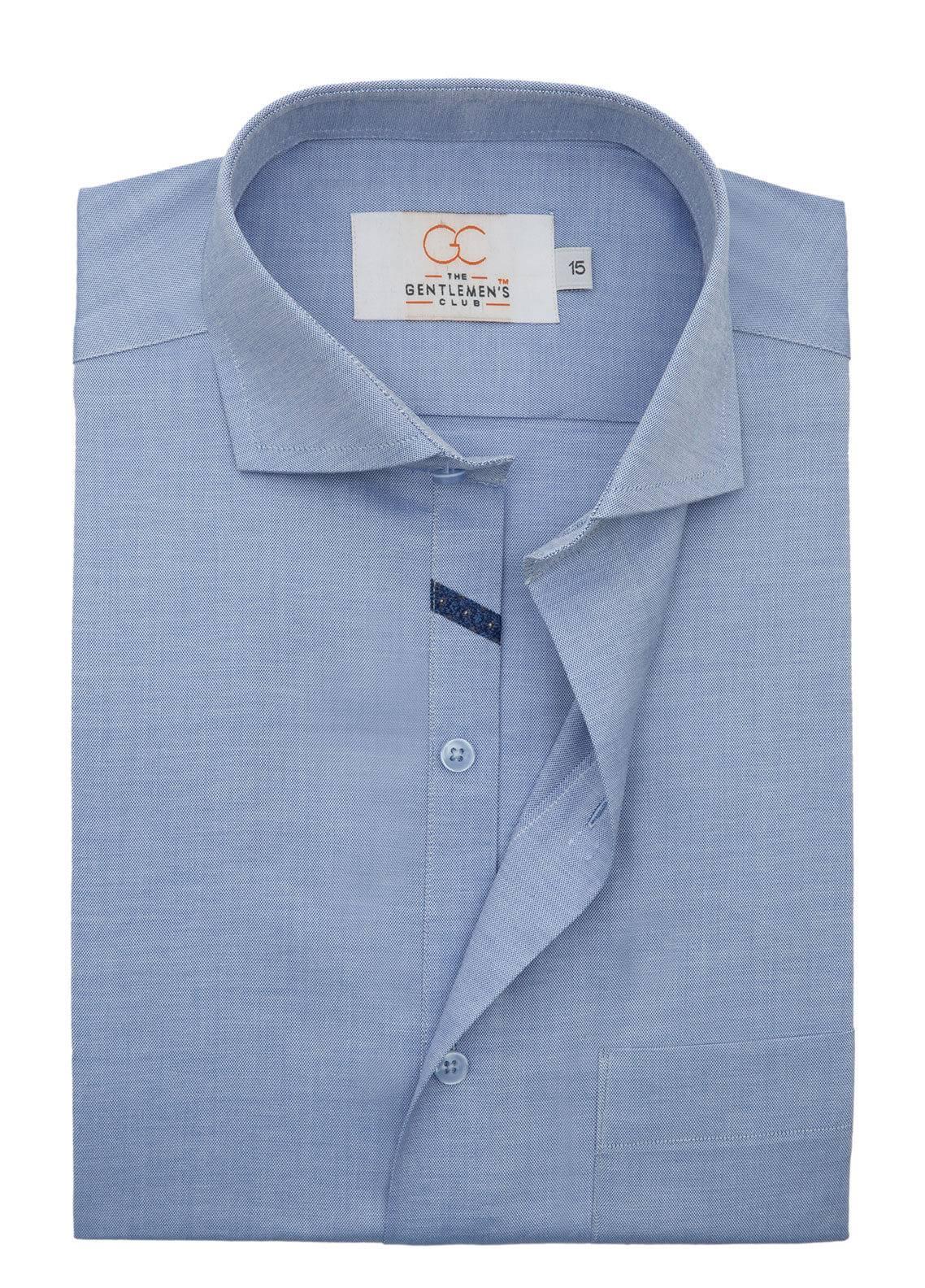 The Gentlemen's Club Cotton Formal Shirts for Men - Blue White Label 4076 - 18.5