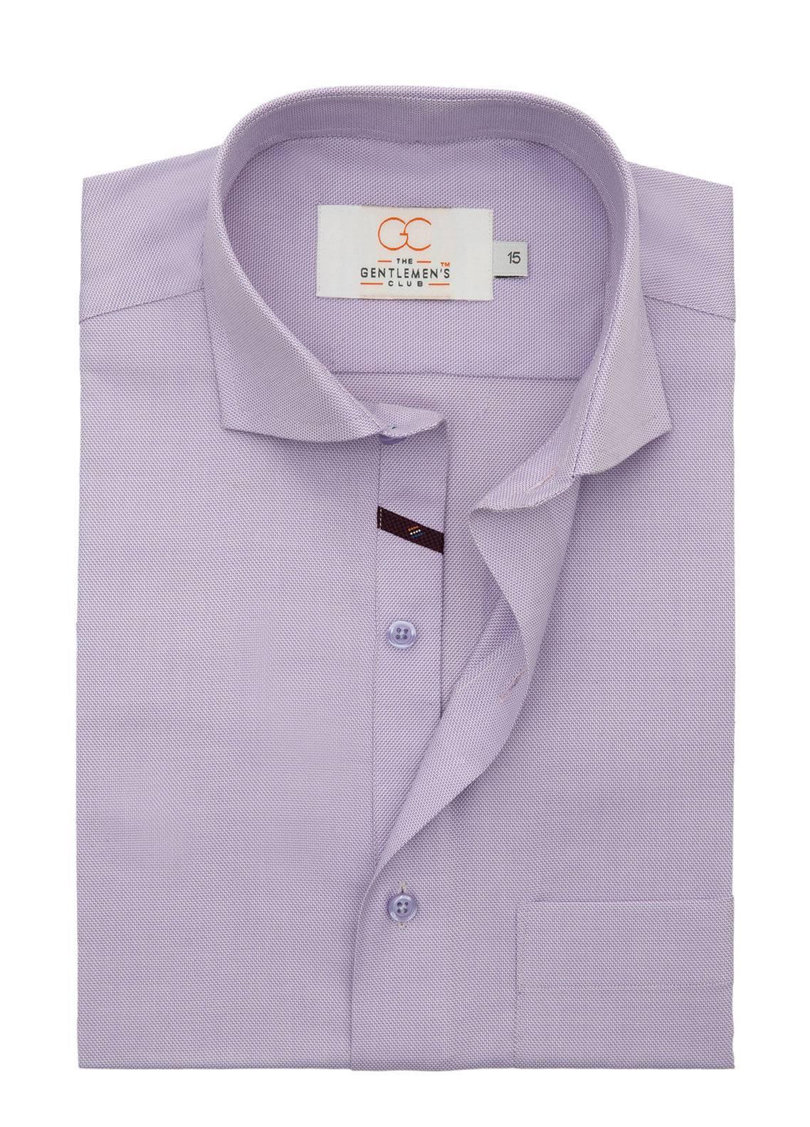 The Gentlemen's Club Cotton Formal Men Shirts - Purple White Label 4077 - 18.5