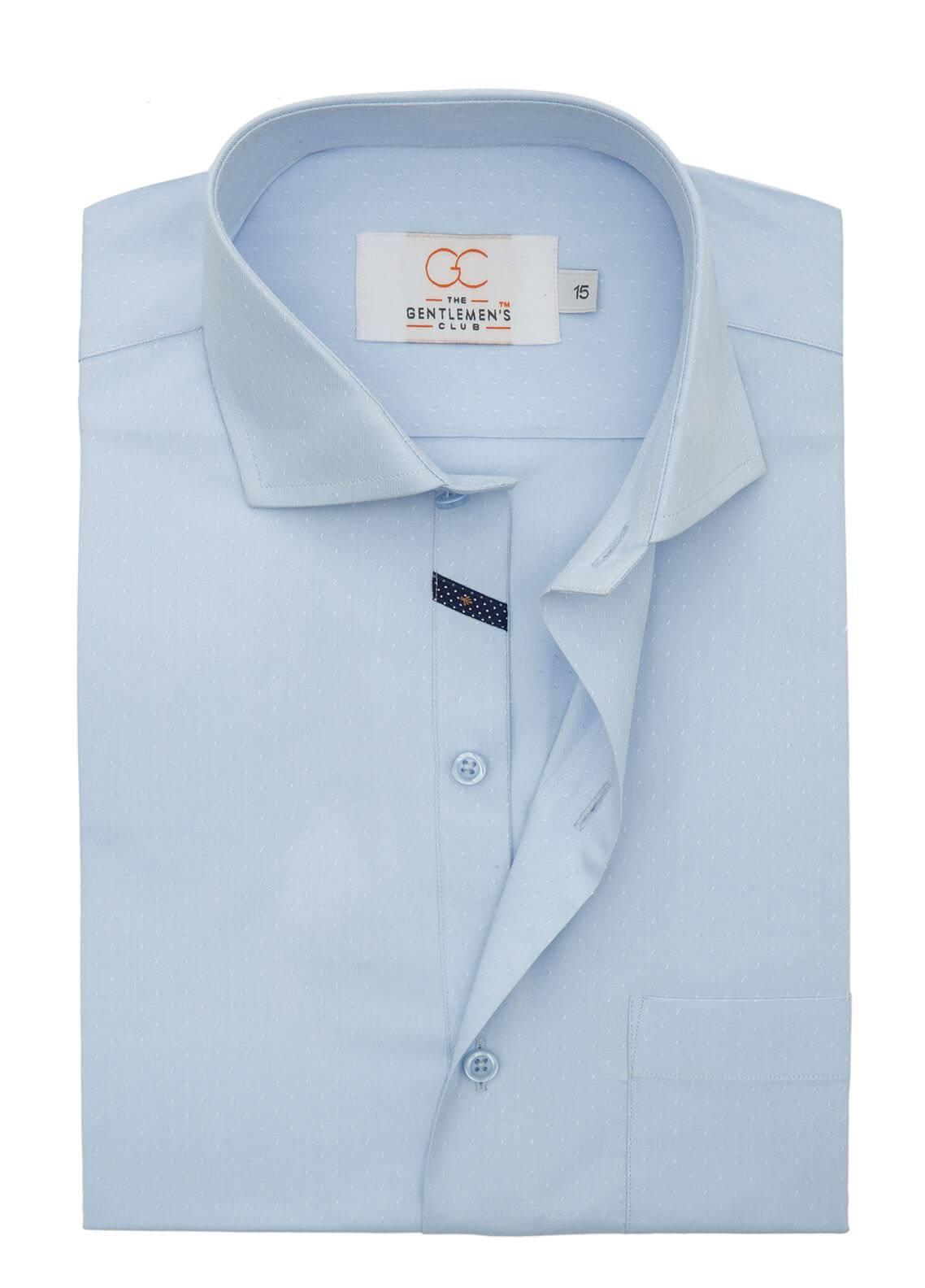 The Gentlemen's Club Cotton Formal Men Shirts - Sky Blue White Label 4079 - 18.5