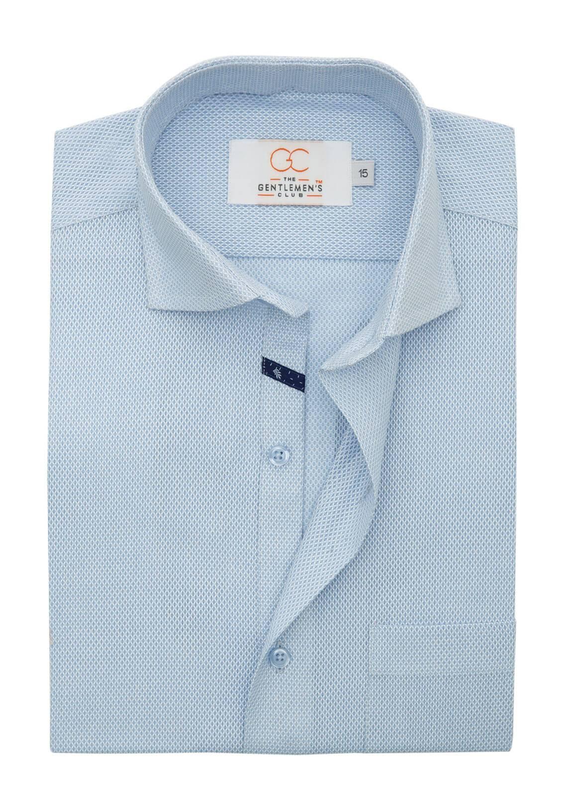 The Gentlemen's Club Cotton Formal Shirts for Men - Sky Blue White Label 4080 - 18