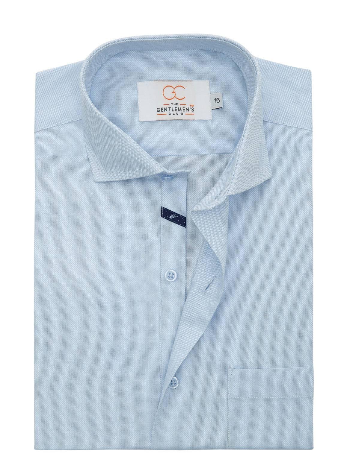The Gentlemen's Club Cotton Formal Men Shirts - Sky Blue White Label 4081 - 18