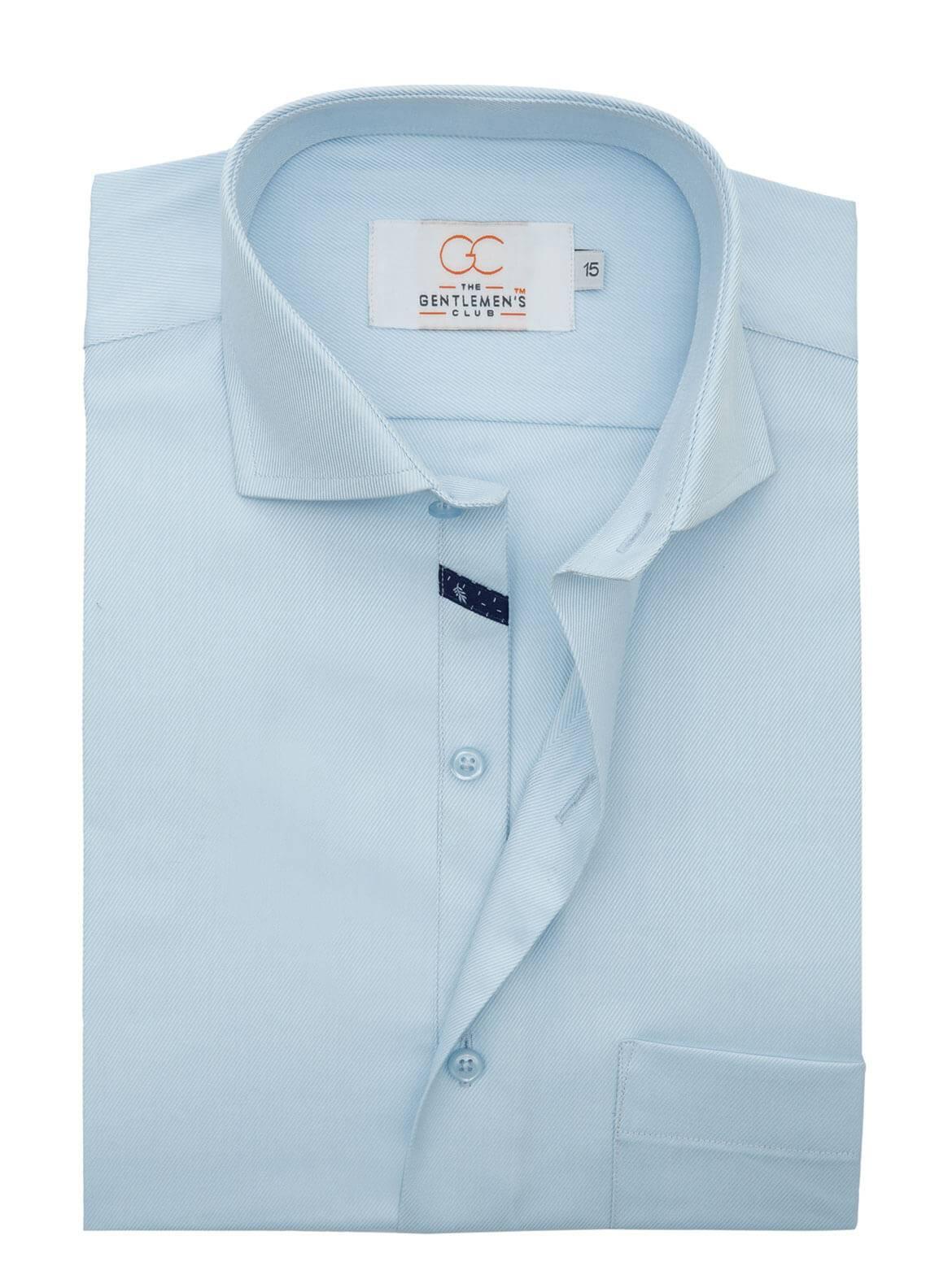 The Gentlemen's Club Cotton Formal Shirts for Men - Sky Blue White Label 4082 - 18