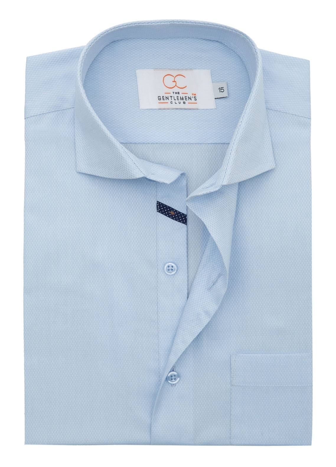 The Gentlemen's Club Cotton Formal Men Shirts - Sky Blue White Label 4084 - 17.5