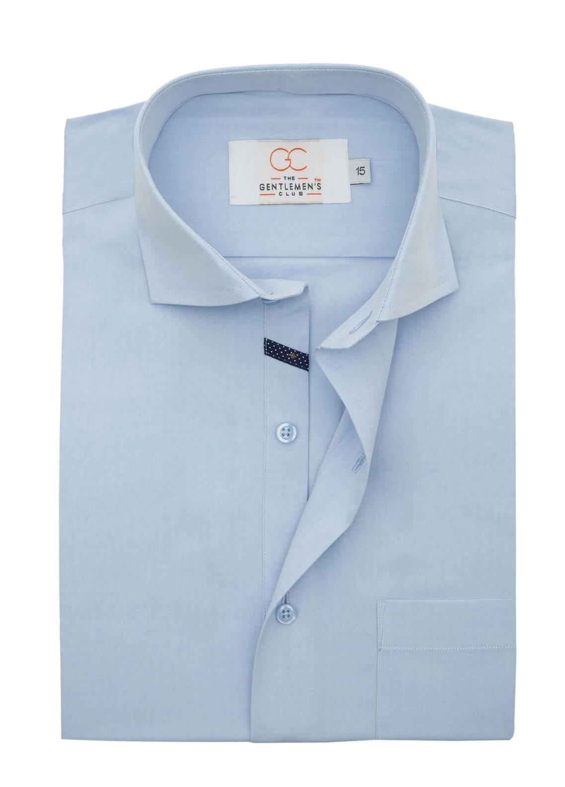 The Gentlemen's Club Cotton Formal Shirts for Men - Sky Blue White Label 4085 - 17.5