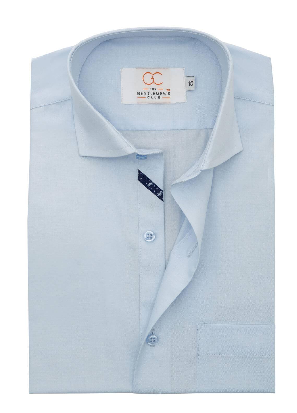 The Gentlemen's Club Cotton Formal Men Shirts - Sky Blue White Label 4086 - 17.5