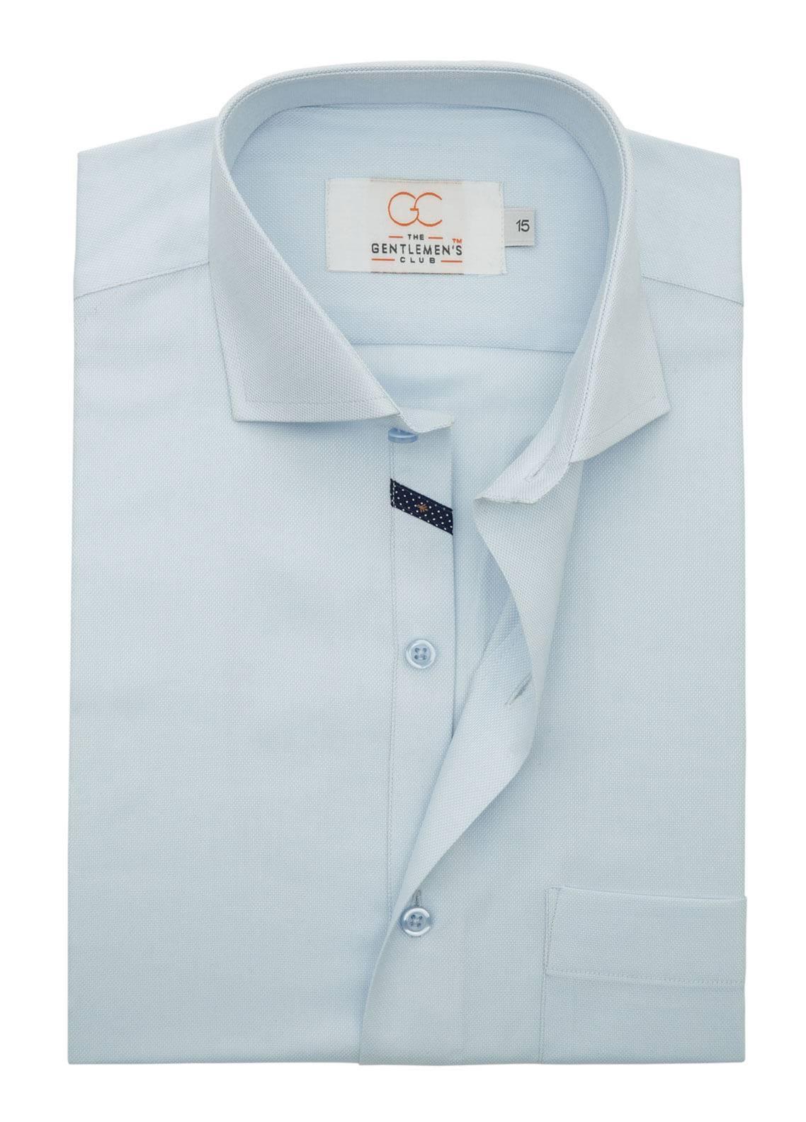 The Gentlemen's Club Cotton Formal Shirts for Men - Sky Blue White Label 4087 - 17.5