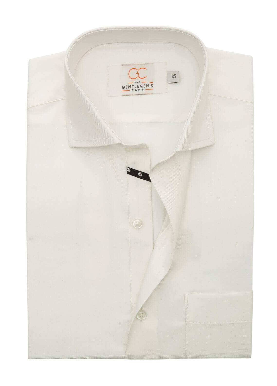 The Gentlemen's Club Cotton Formal Men Shirts - Off White White Label 4088 - 18.5