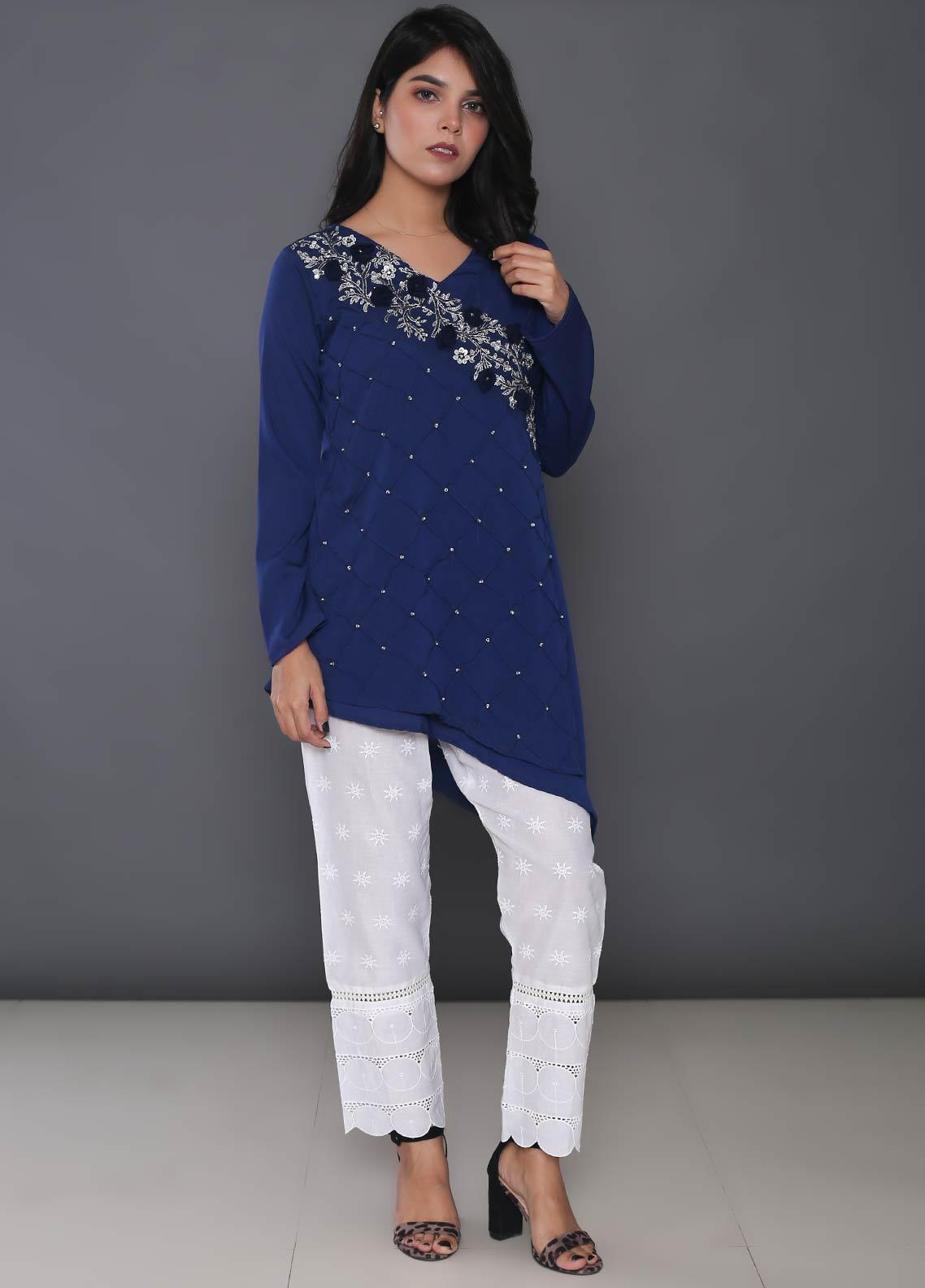 Change Embroidered Chiffon Stitched Kurtis CK1794 Navy