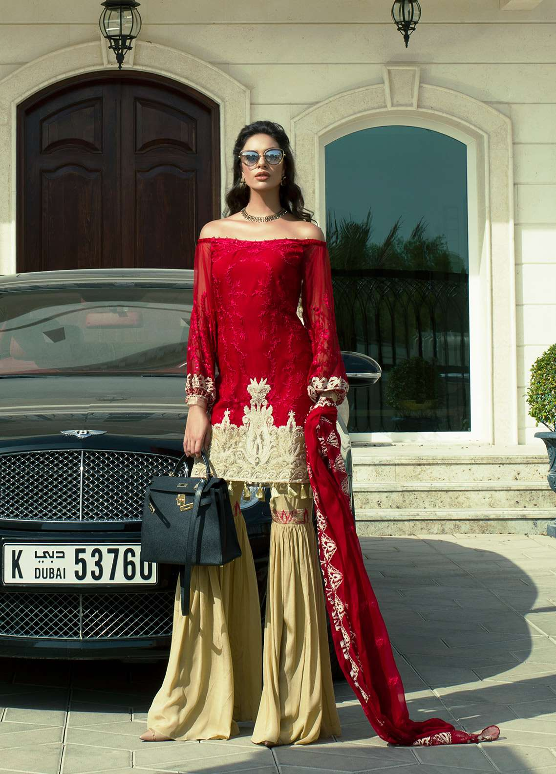 Aamna Aqeel Embroidered Silk Unstitched 3 Piece Suit AA18S 01 - Festive Collection