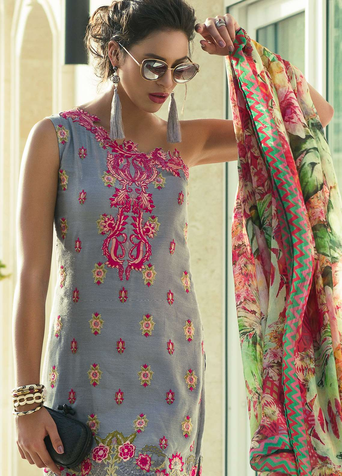Aamna Aqeel Embroidered Silk Unstitched 3 Piece Suit AA18S 03 - Festive Collection