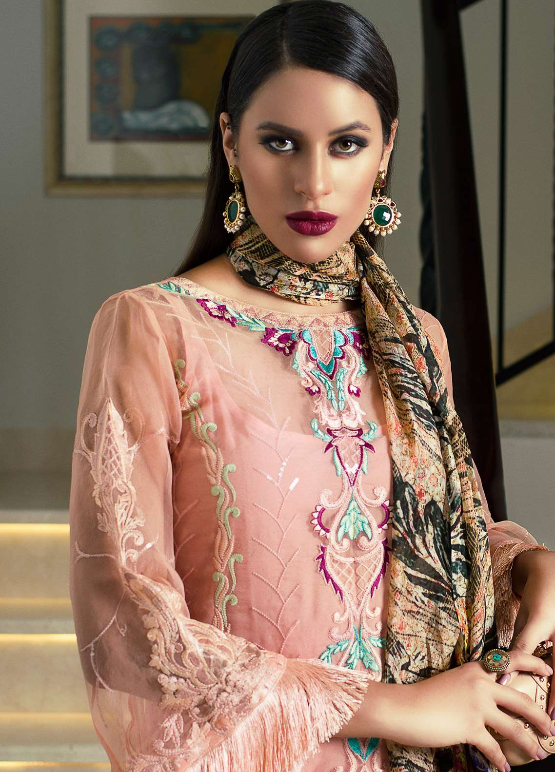 Aamna Aqeel Embroidered Silk Unstitched 3 Piece Suit AA18S 06 - Festive Collection