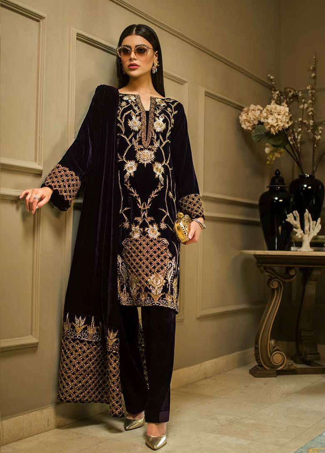 04ac02d044 Aamna Aqeel Embroidered Velvet Unstitched 3 Piece Suit AA18V 03 Amethyst  Allure - A Velvet Romance