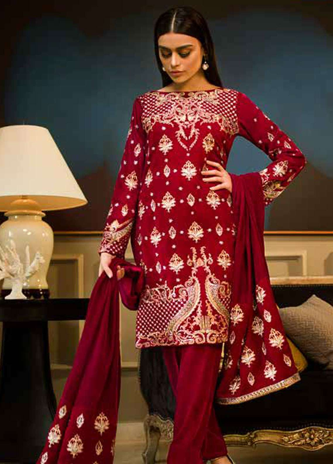 Aamna Aqeel Embroidered Velvet Unstitched 3 Piece Suit AA18V 04 Carmine Charm - A Velvet Romance