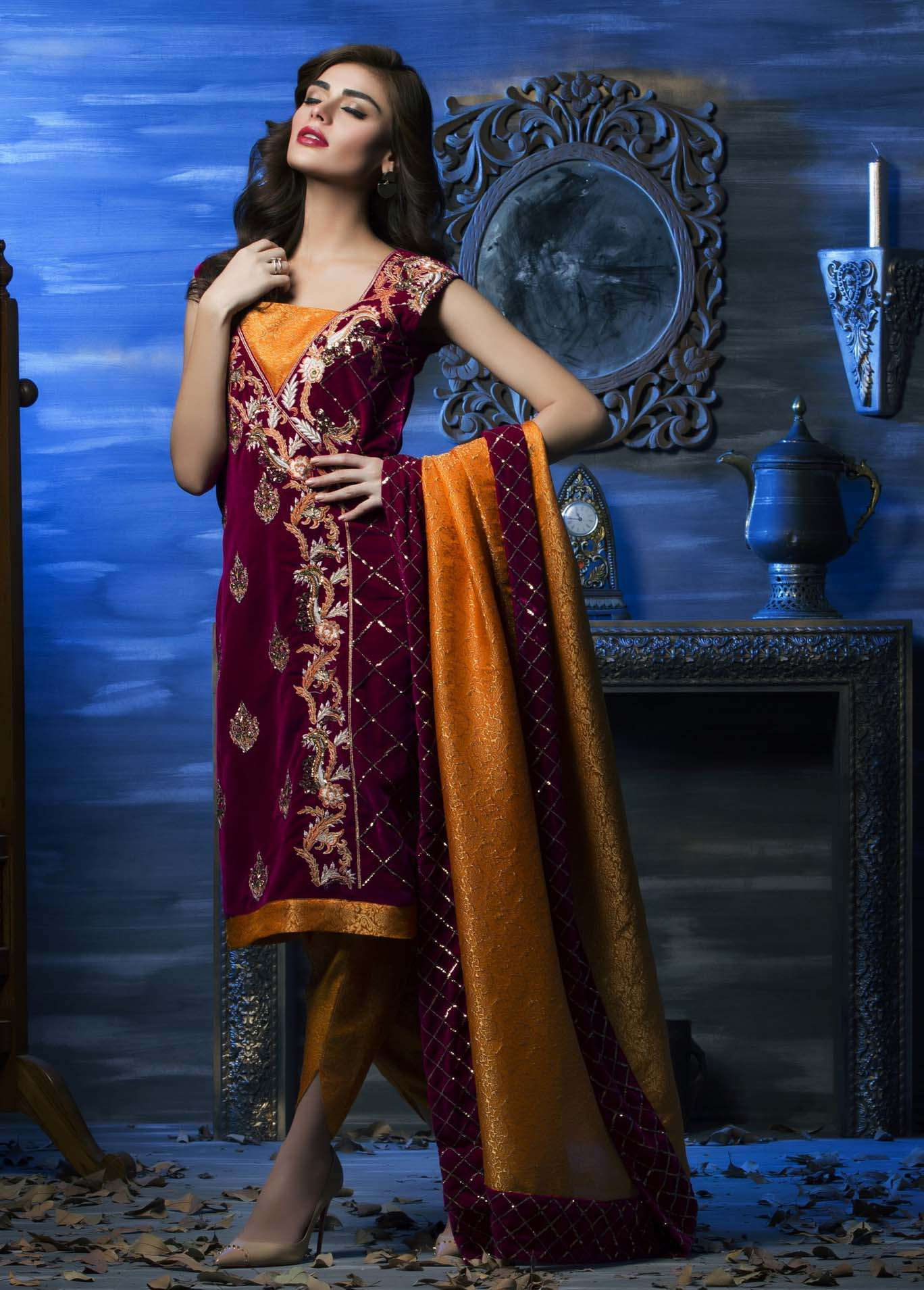 Aamna Aqeel Embroidered Velvet Unstitched 3 Piece Suit AAV17W 06
