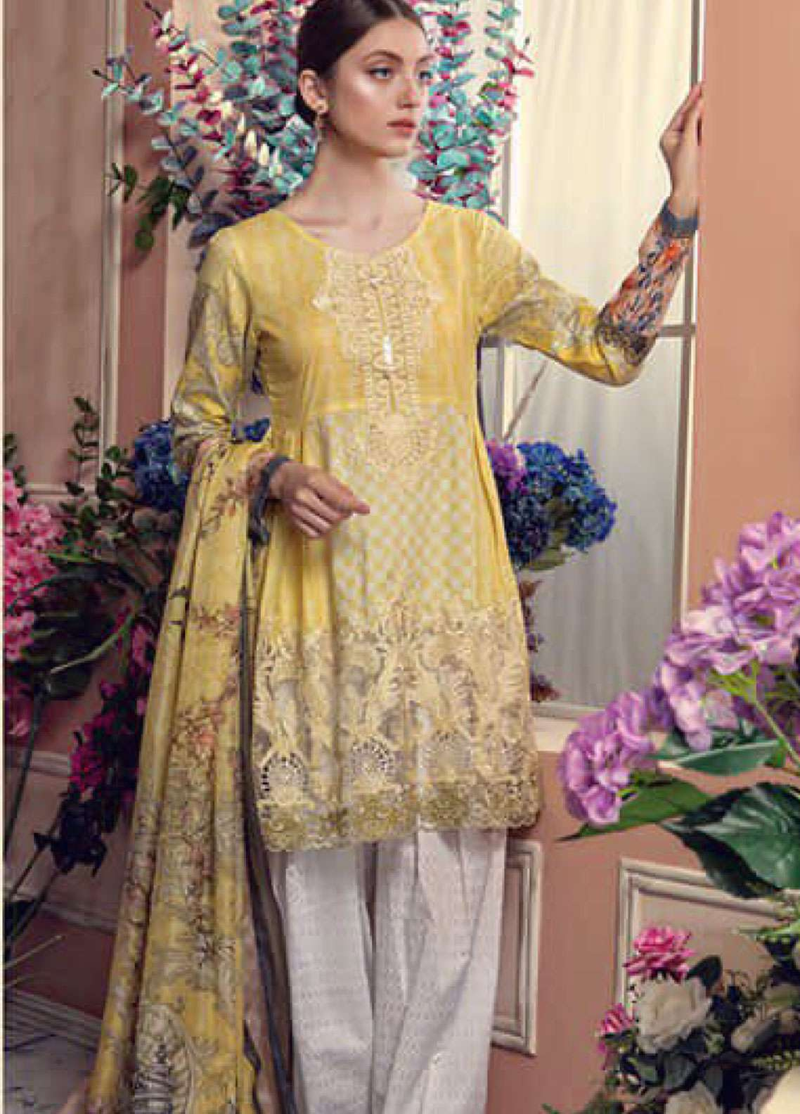 Aayra Embroidered Lawn Unstitched 3 Piece Suit AY19L 01A - Spring / Summer Collection