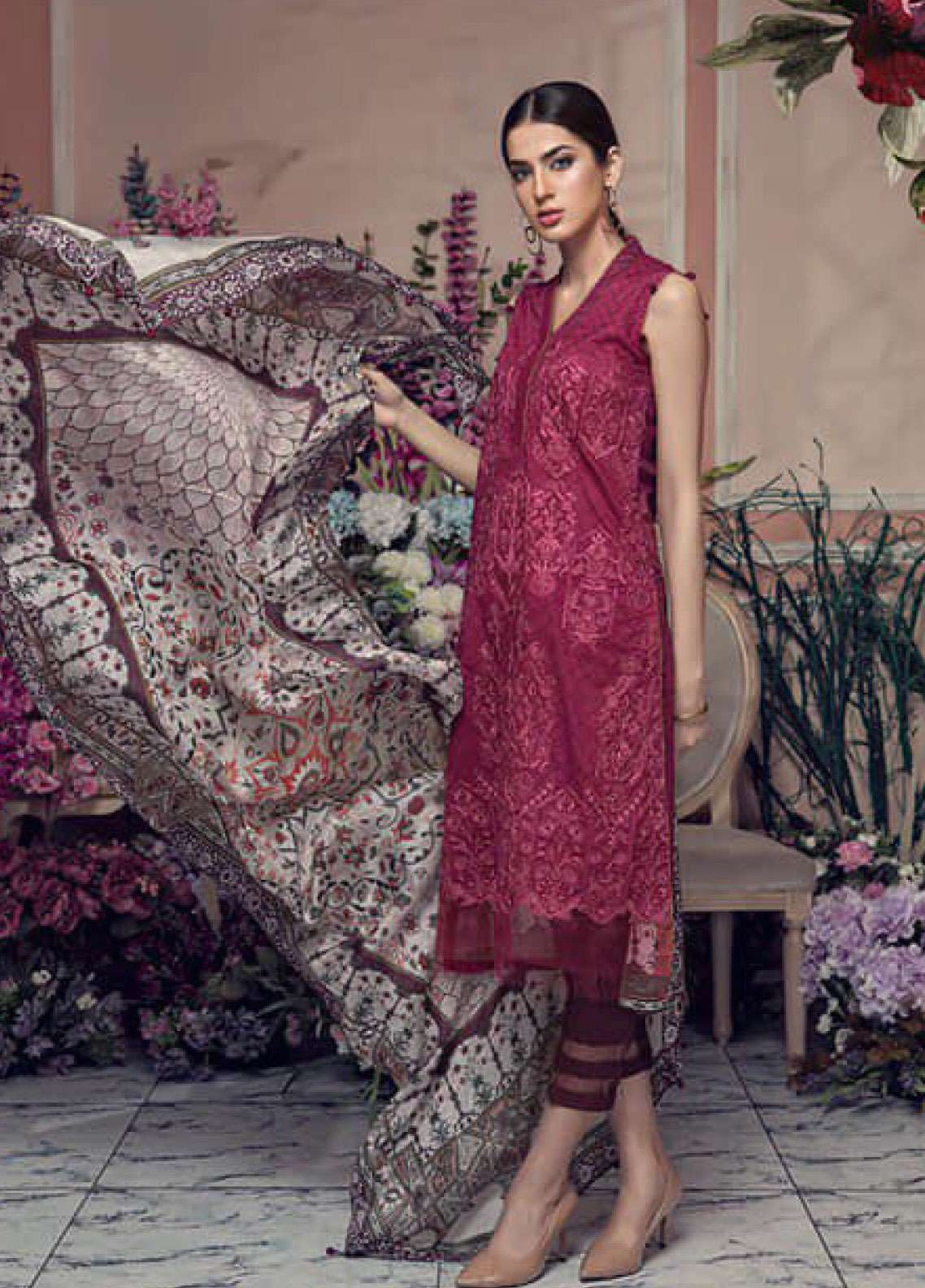 Aayra Embroidered Lawn Unstitched 3 Piece Suit AY19L 04A - Spring / Summer Collection