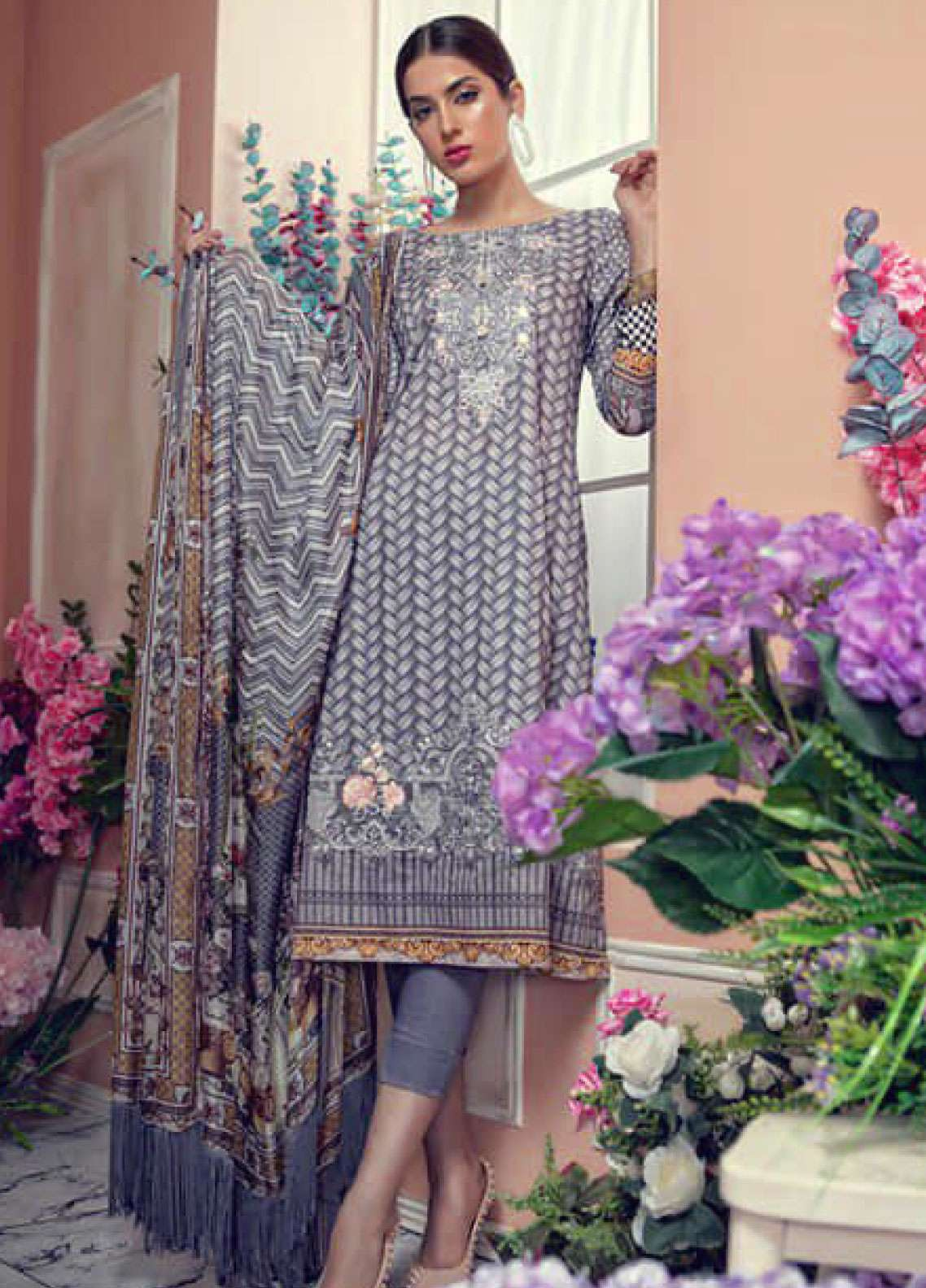 Aayra Embroidered Lawn Unstitched 3 Piece Suit AY19L 06A - Spring / Summer Collection