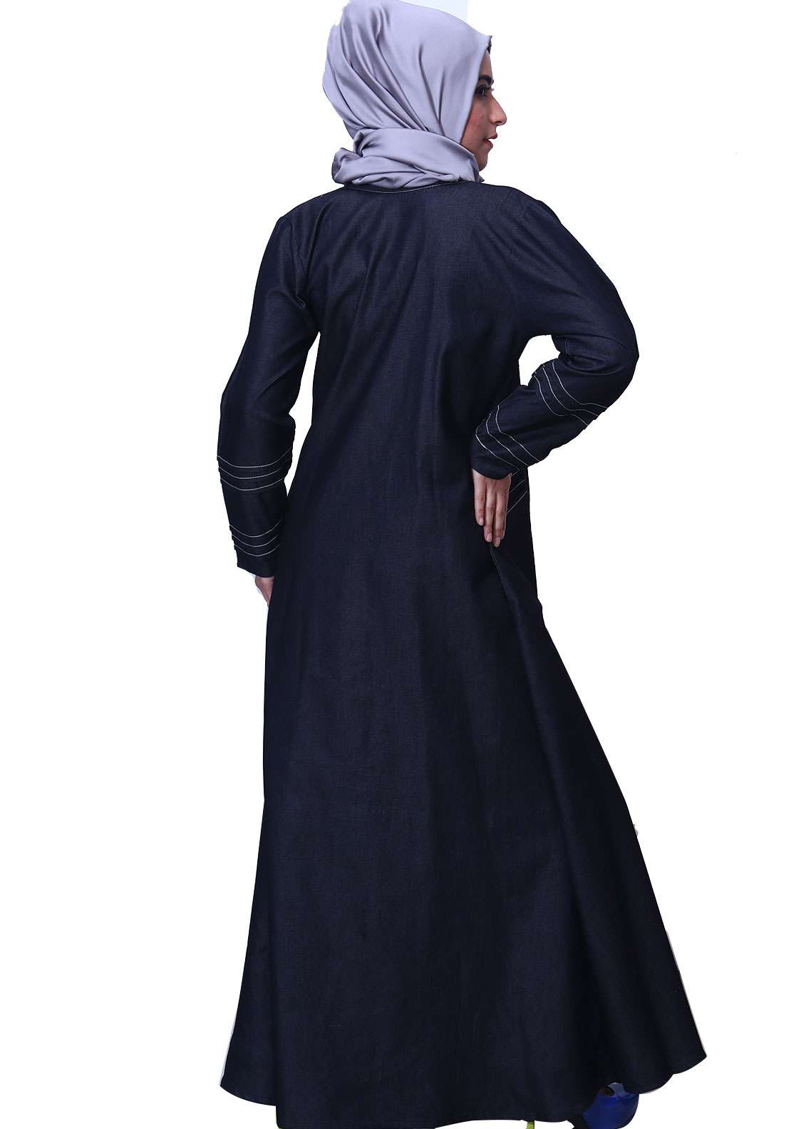 Black Denim Formal Style Abaya for Women - ABY18 012