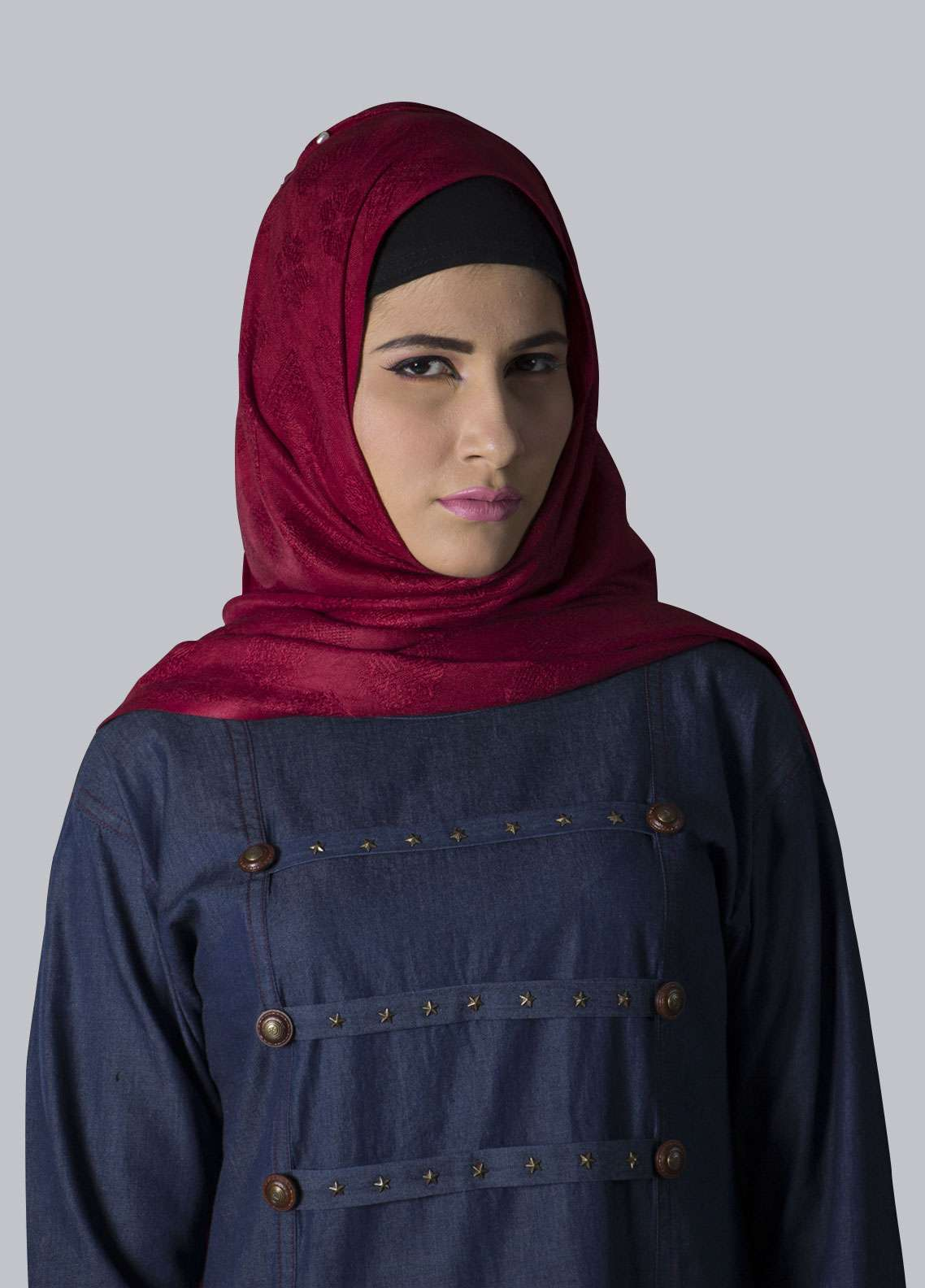 Navy Blue Georgette Formal Style Abaya for Women - ABY18 001