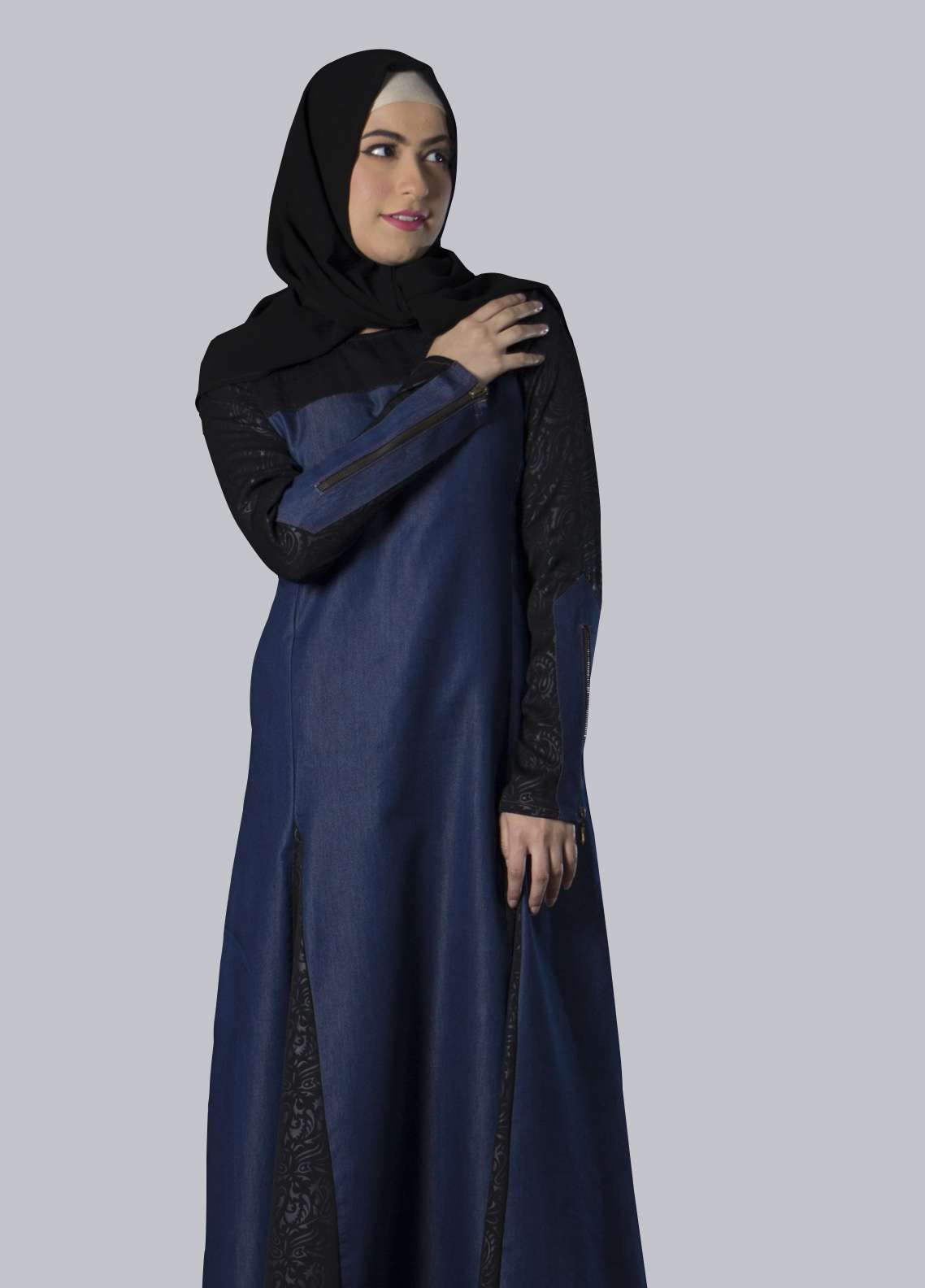 Navy Blue Georgette Front Close Style Abaya for Women - ABY18 003
