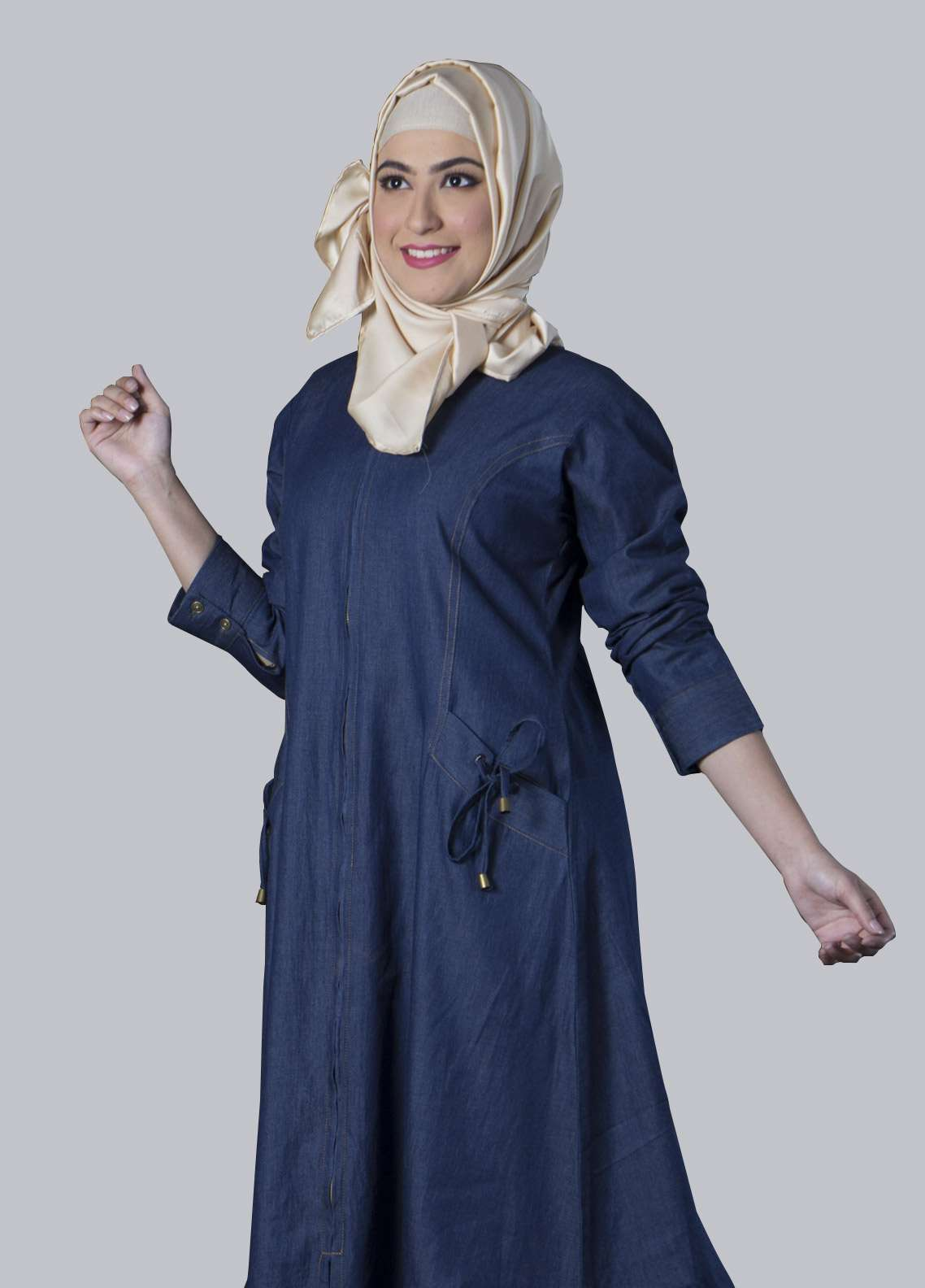 Blue Georgette Front Close Style Abaya for Ladies - ABY18 004