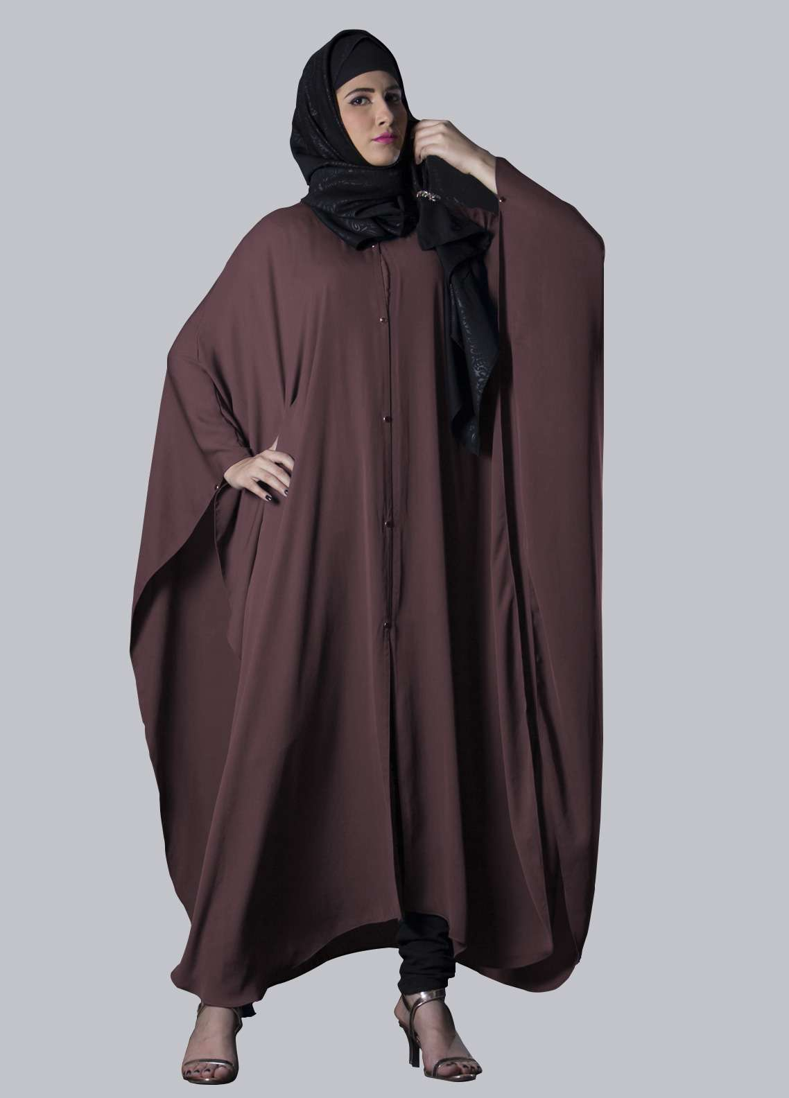 Brown Jeans Fancy Style Abaya for Women - ABY18 005