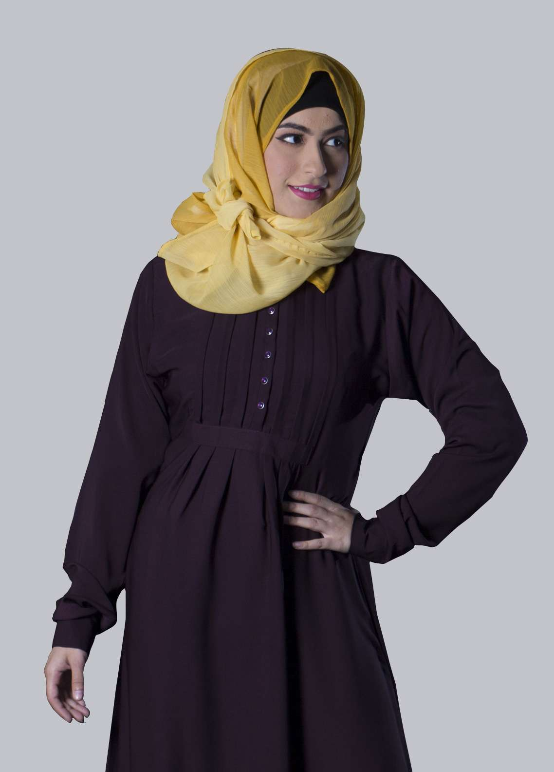 Maroon Georgette Front Close Style Abaya for Ladies - ABY18 008