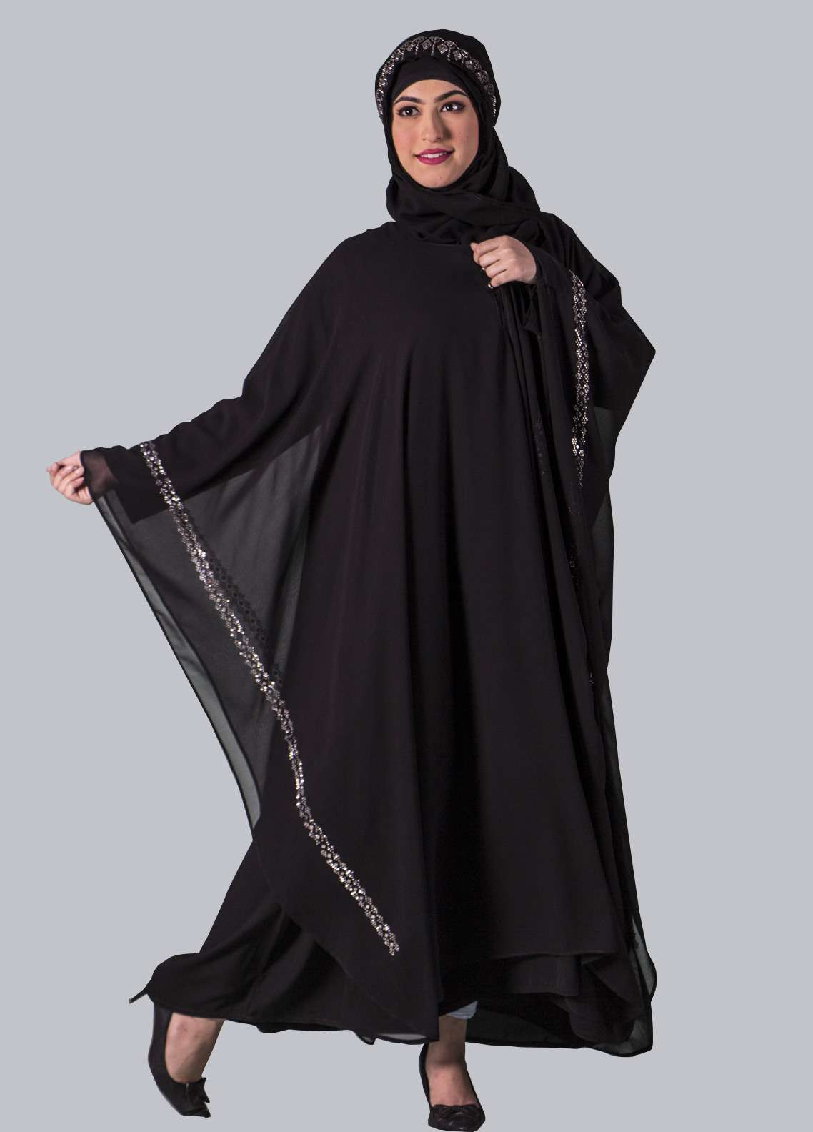 Black Georgette Fancy Style Abaya for Women - ABY18 009