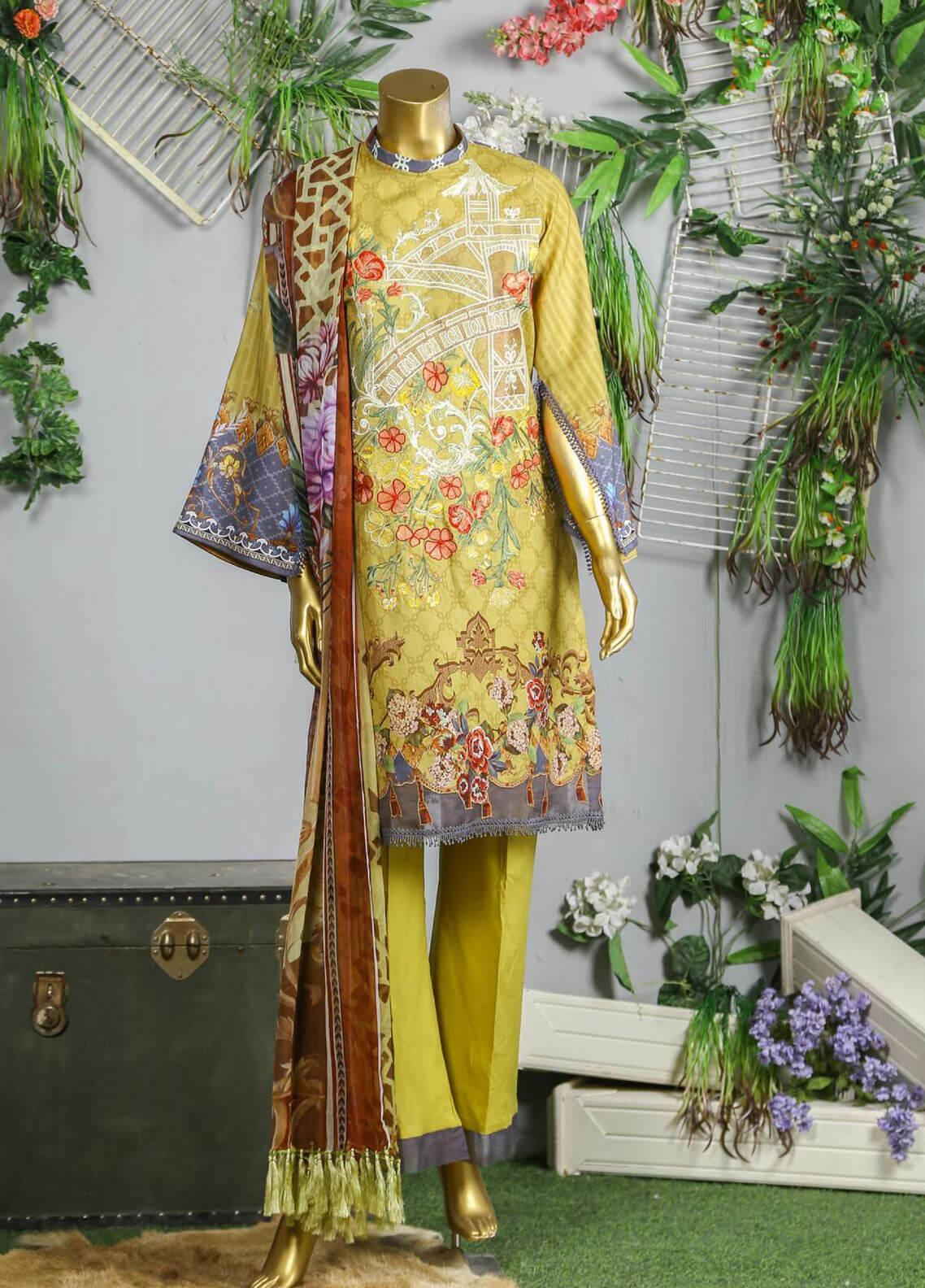 Abyaan Embroidered Lawn Unstitched 3 Piece Suit ABY19F 01 BAHAAR - Festive Collection