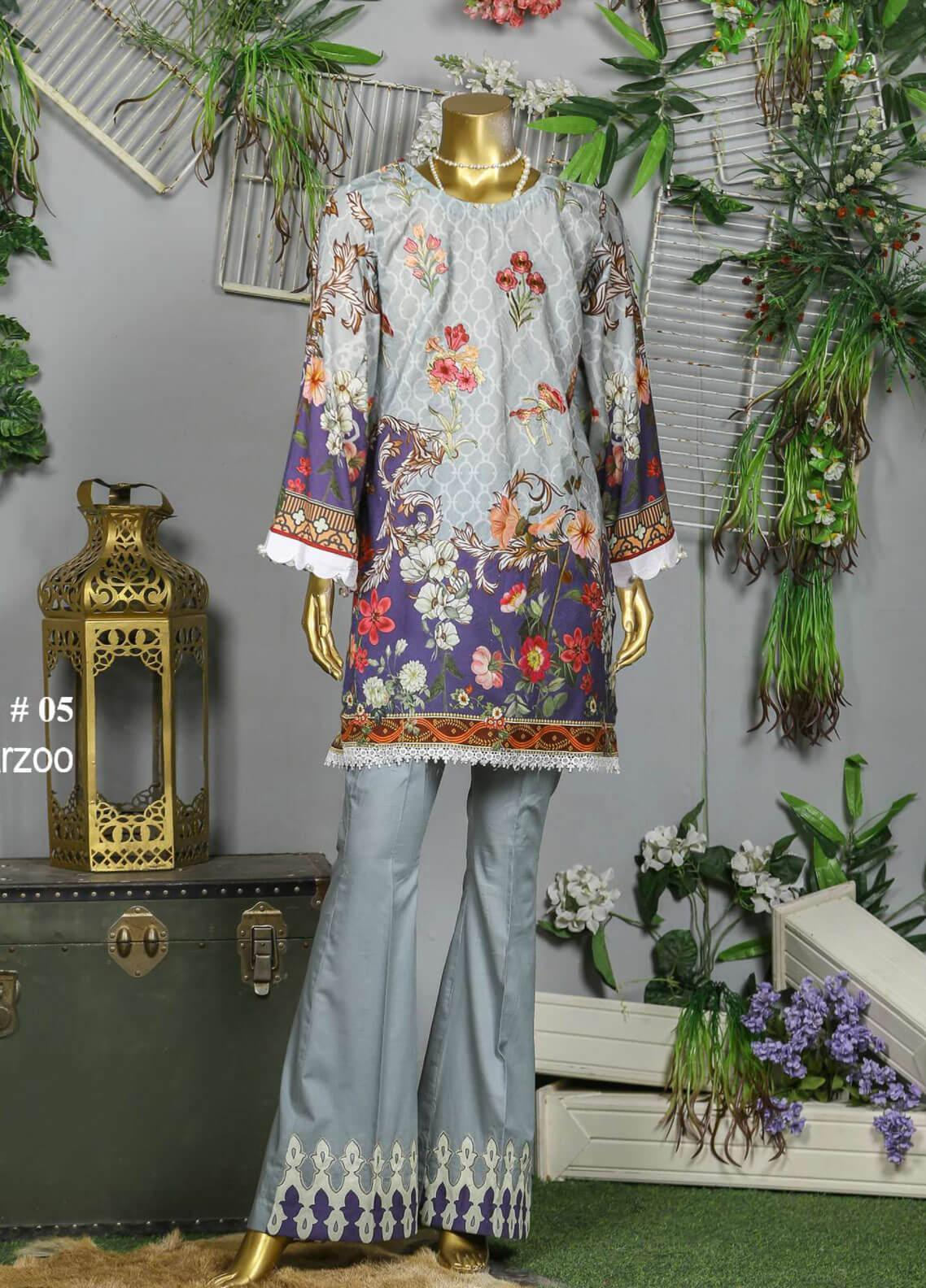 Abyaan Embroidered Lawn Unstitched 3 Piece Suit ABY19F 05 ARZOO - Festive Collection