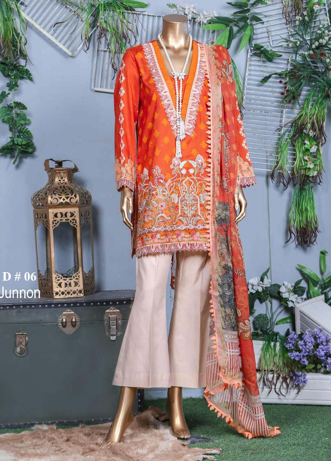 Abyaan Embroidered Lawn Unstitched 3 Piece Suit ABY19F 06 JUNNON - Festive Collection