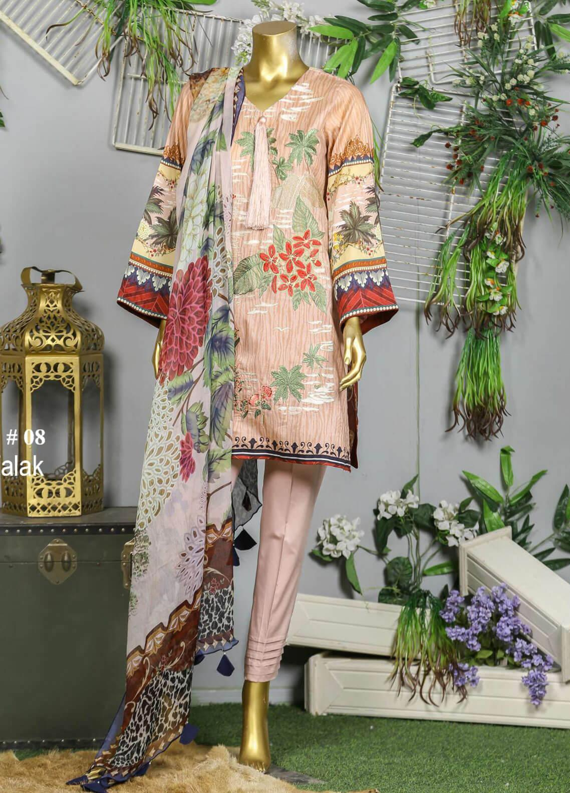 Abyaan Embroidered Lawn Unstitched 3 Piece Suit ABY19F 08 FALAK - Festive Collection