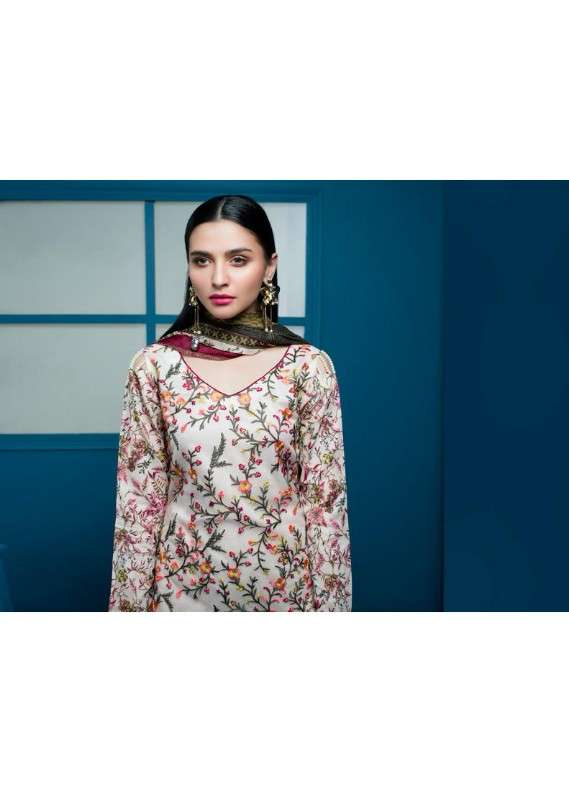 Arisha Chowdary BY ZS Embroidered Lawn Unstitched 3 Piece Suit AC18L 16 - Spring / Summer Collection