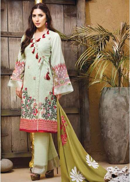 Adamjee Embroidered Cotton Satin Unstitched 3 Piece Suit AD17W 01