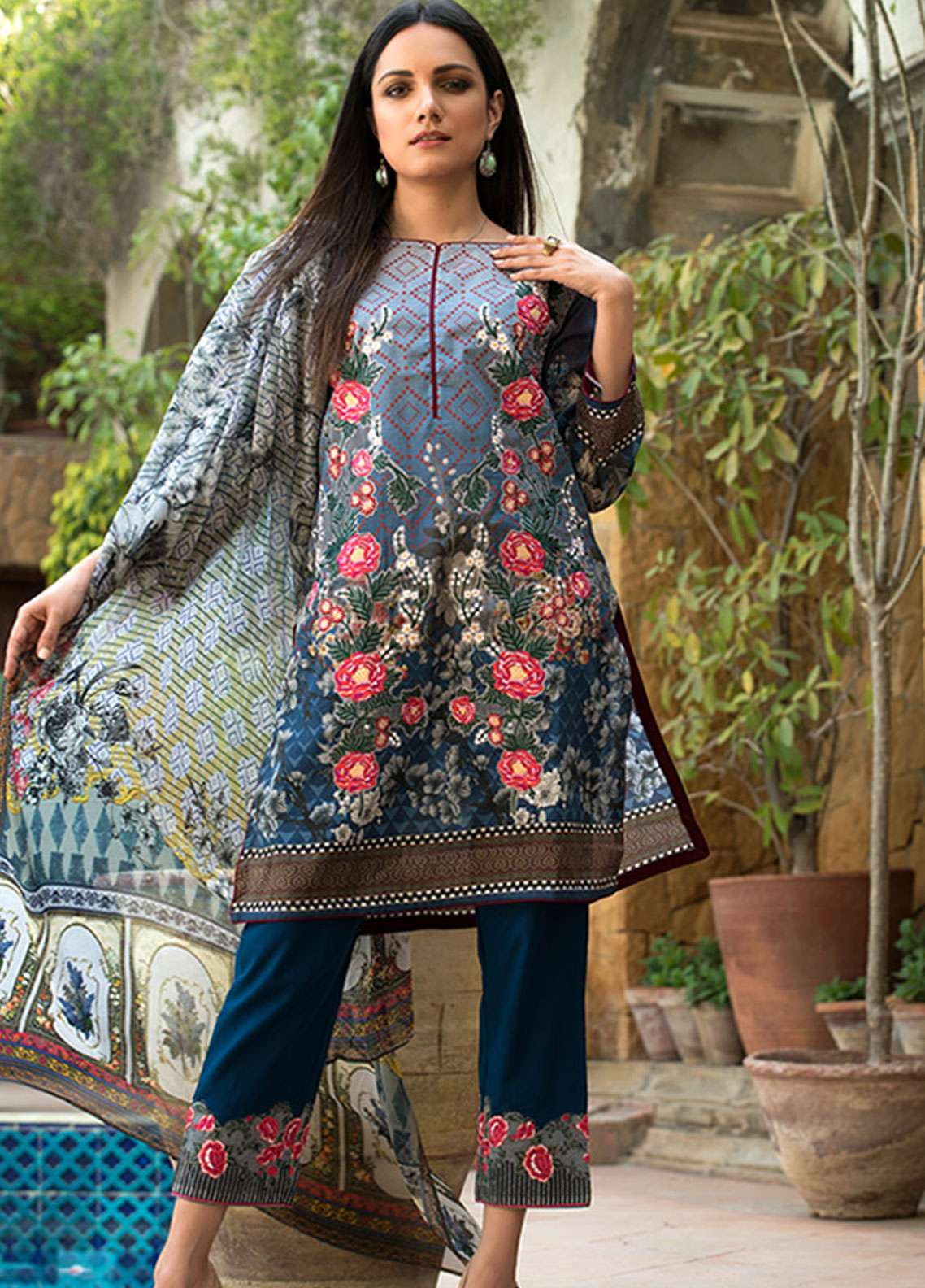 Adamjee Embroidered Lawn Unstitched 3 Piece Suit AD19L 02 - Spring / Summer Collection