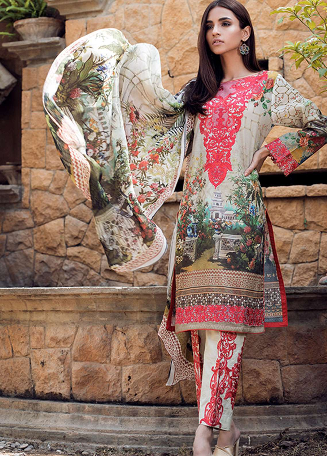 1c004fba82 Adamjee Embroidered Lawn Unstitched 3 Piece Suit AD19L 03 - Spring / Summer  Collection