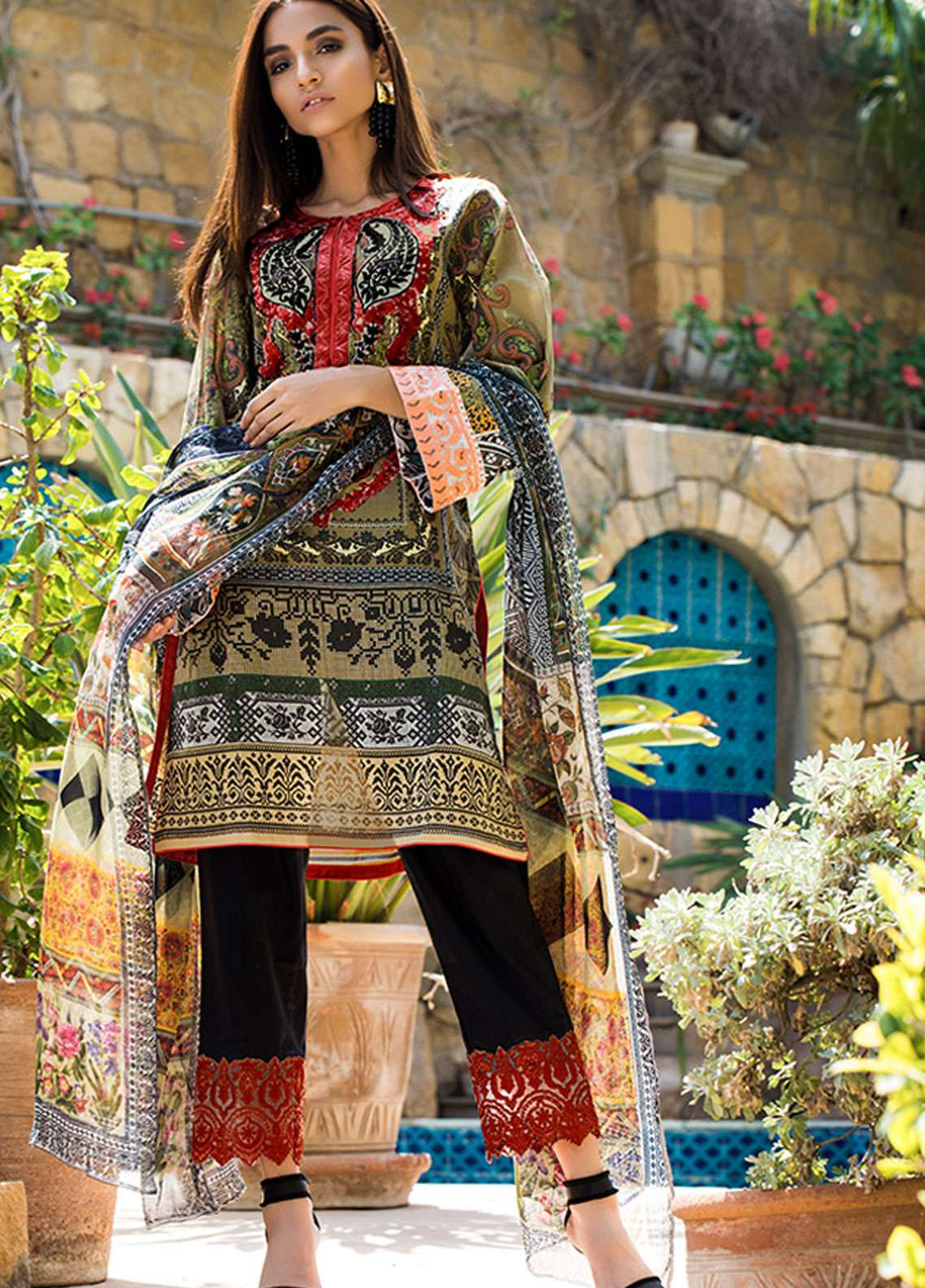 Adamjee Embroidered Lawn Unstitched 3 Piece Suit AD19L 05 - Spring / Summer Collection